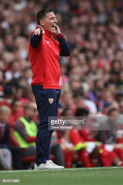 The Sevilla FC Manager Eduardo Berizzo looks on during the Emirates Cup match between Arsenal and Sevilla FC at Emirates Stadium on July 30 2017 in...