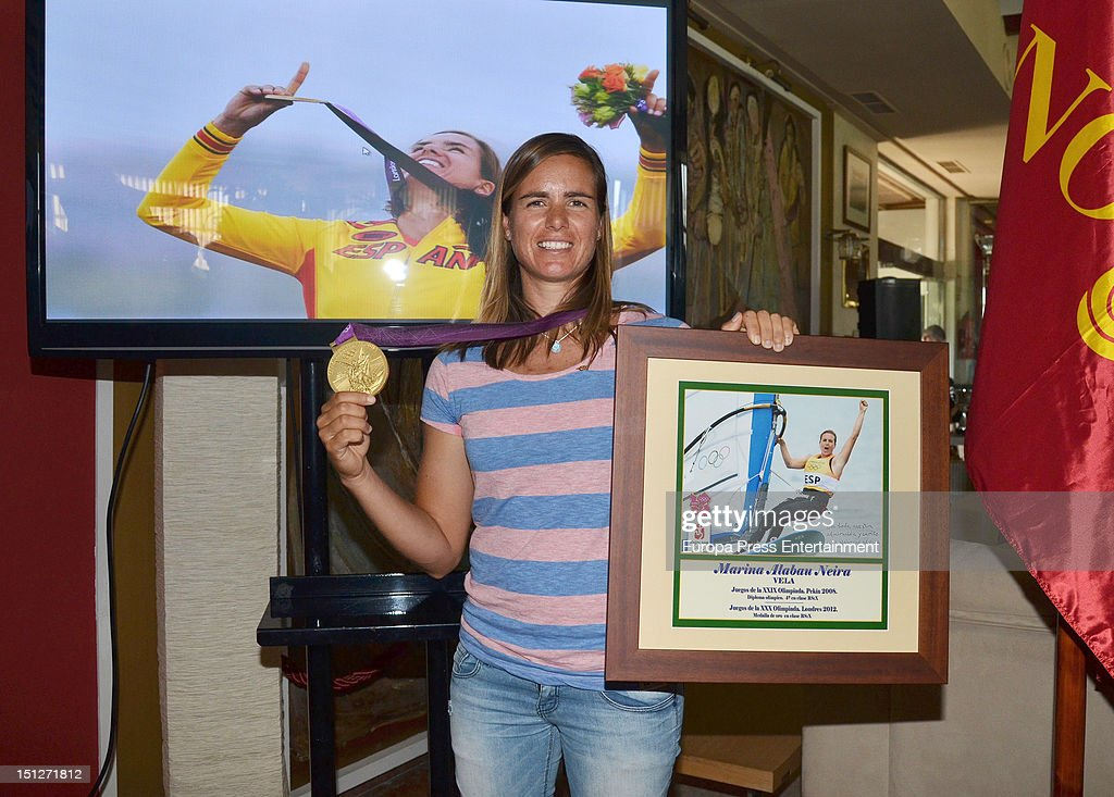 The Sevilla Nautical Club pays tribute to the Olympic golden medallist <a gi-track='captionPersonalityLinkClicked' href=/galleries/search?phrase=Marina+Alabau&family=editorial&specificpeople=5487042 ng-click='$event.stopPropagation()'>Marina Alabau</a> on September 4, 2012 in Seville, Spain.