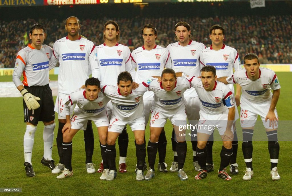 The Sevilla team poses for a group photo before the Primera Liga match between FC Barcelona and Sevilla on December 11, 2005 at the Camp Nou stadium in Barcelona, Spain.