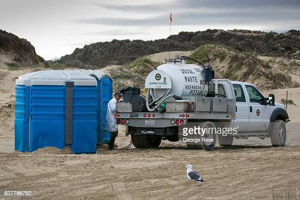 The sewage is pumped from portable toilets at Oceano Dunes/Pismo Beach State Park beach on November 27 near Pismo Beach California Because of its...