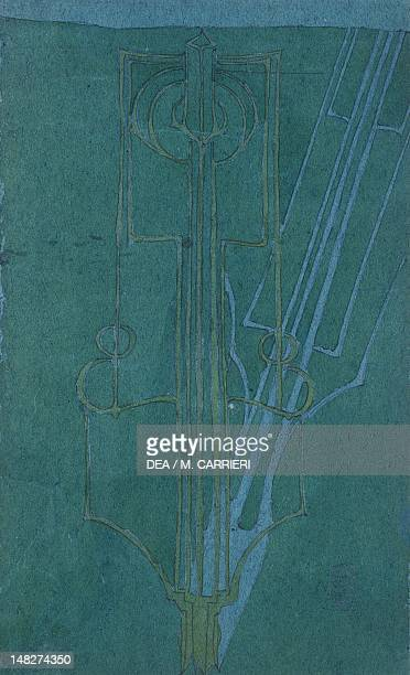 The Shadow by Charles Rennie Mackintosh watercolour and pencil on blue paper 30x18 cm