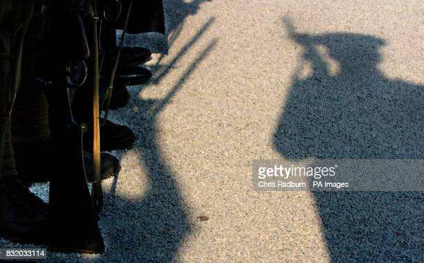 The shadow of a Guardsman at the Somme memorial service in Lochnagar Creator France PRESS ASSOCIATION Photo Picture date Saturday July 1 2006 At...
