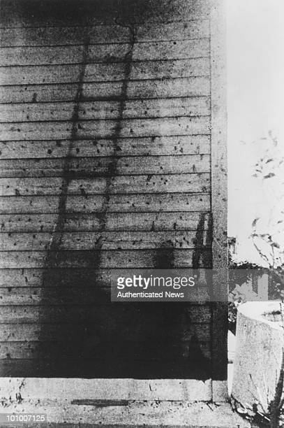 The 'shadow' of a ladder and a Japanese soldier after the atomic bombing of the Japanese city of Nagasaki by the US 1945 The soldier had been on...