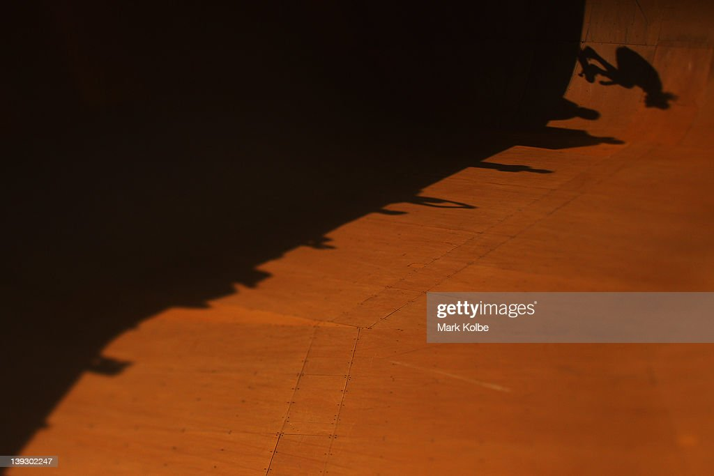 The shadow of a skater is seen in the Beach Bowl skateboarding competition during the 2012 Australian Surfing Open on February 19, 2012 in Manly, Australia.