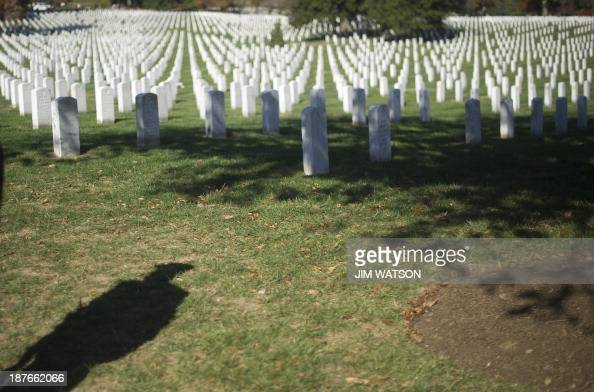 The shadow of a US Army Honor Guardsman is seen on Veterans Day in Arlington National Cemetery in Arlington Virginia November 11 2013 AFP PHOTO / Jim...