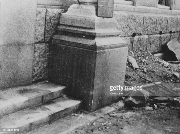 The 'shadow' of a victim on some steps after the atomic bombing of the Japanese city of Hiroshima by the US June 1946 The person had been sitting on...