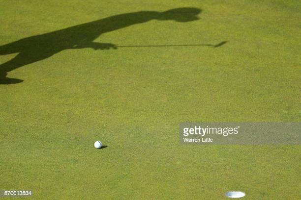 The shadow of Austin Connelly of Canada on the 11th green during the third round of the Turkish Airlines Open at the Regnum Carya Golf Spa Resort on...
