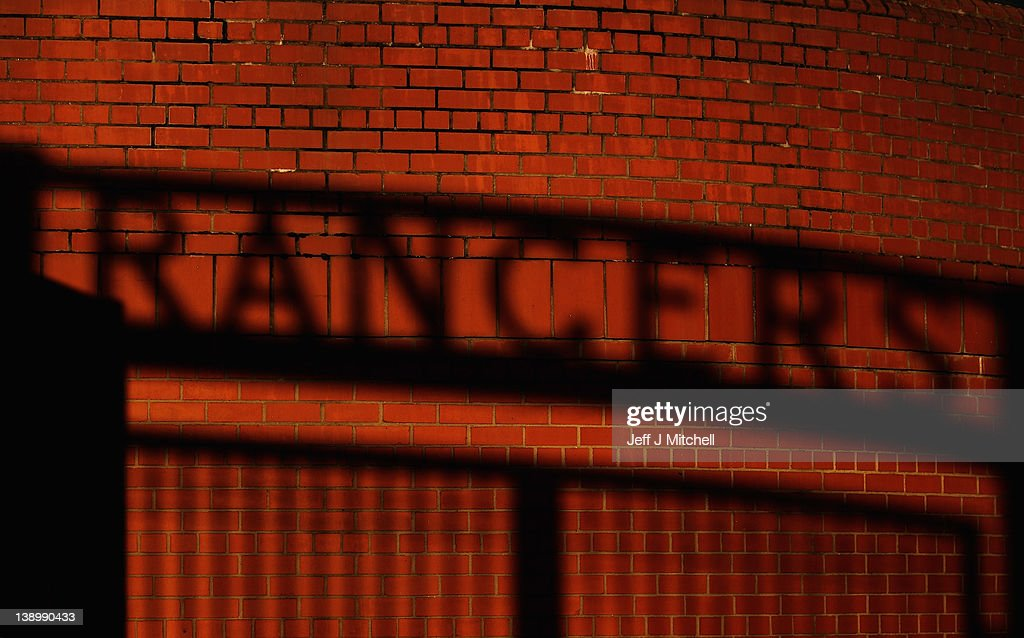 The shadow of the gates is cast on a wall at Ibrox Stadium on February 15, 2012 in Glasgow, Scotland. The Clydesdale Bank Premier League club entered administration yesterday over an unpaid tax bill of 9 million GBP.