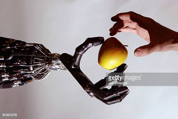 The Shadow Robot company's dextrous hand robot holds an Apple at the Streetwise Robots event held at the Science Museum's Dana Centre on May 6 2008...