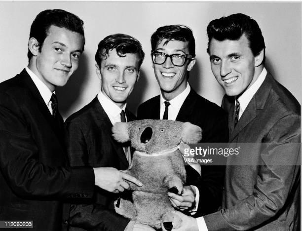 The Shadows Brian Bennett Jet Harris Hank Marvin Bruce Welch posed group shot holding toy koala bear 1961