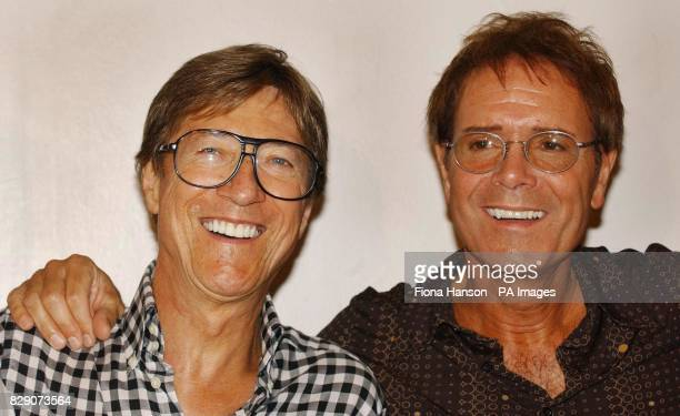 The Shadows' lead guitarist Hank B Marvin and Sir Cliff Richard at the London Palladium ahead of their final concert appearance together which will...