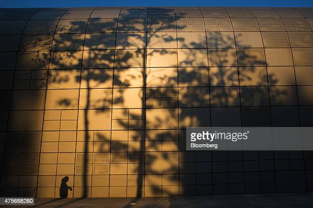 The shadows of a woman and nearby trees are cast on the wall of Dongdaemun Design Plaza in Seoul South Korea on Sunday May 24 2015 South Korea is...