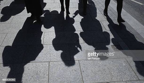 The shadows of Deputy Leader of the Labour Party and Shadow Deputy Prime Minister Harriet Harman and Labour Parliamentary candidate for Stockton...