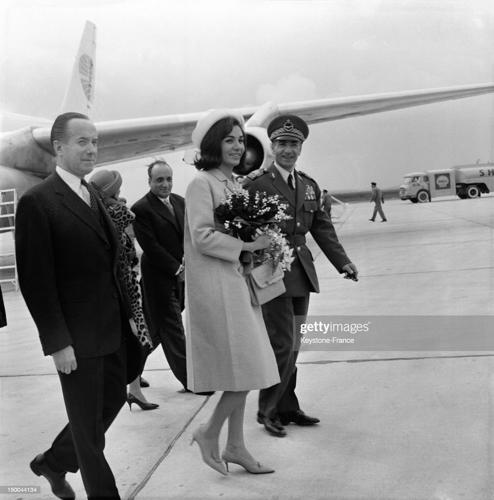 The Shah of Iran and his wife Empress Farah Diba make a one hour stop at Paris Orly Airport on their way to United States on April 10, 1962 in Paris, France.