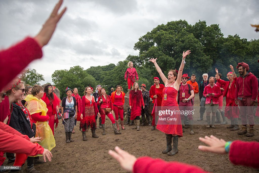 The Shakti Sings choir perform at the Stone Circle at the Glastonbury Festival 2016 at Worthy Farm, Pilton on June 25, 2016 near Glastonbury, England. The Festival, which Michael Eavis started in 1970 when several hundred hippies paid just £1, now attracts more than 175,000 people.