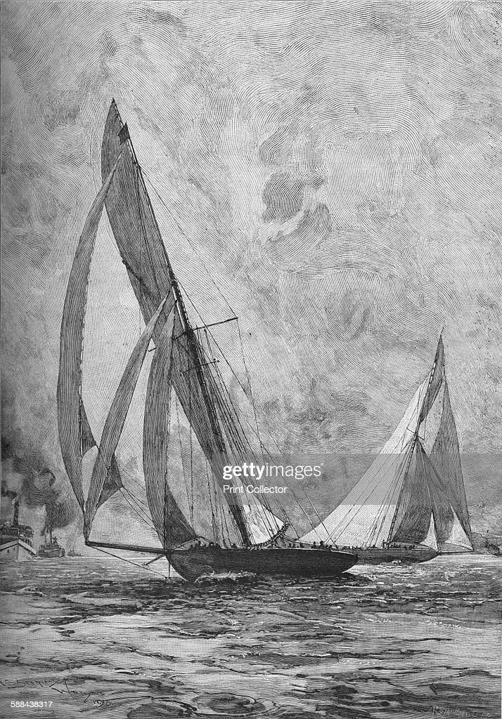 The 'Shamrock' and the 'Columbia' racing for the America's Cup 1899 The New York Yacht Club's 'Columbia' backed by J P Morgan defeated the Royal...
