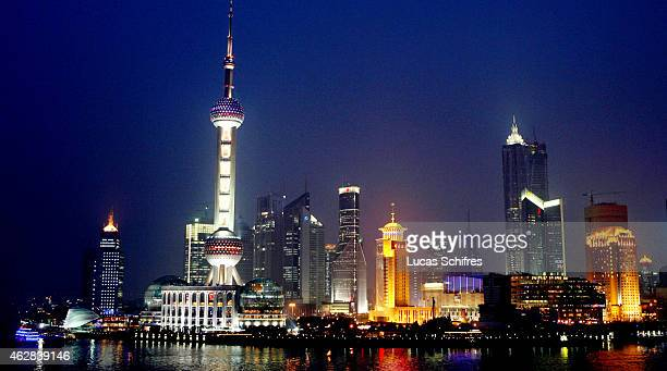 The Shanghai Pudong Skyline including the Oriental Pearl TV Tower is seen from the Bund side on April 18 2009 in Shanghai China