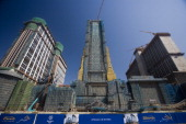 The Shangrila left Sheraton center and Hilton hotels which are being developed by the Las Vegas Sands Corp are seen under construction in Macau China...