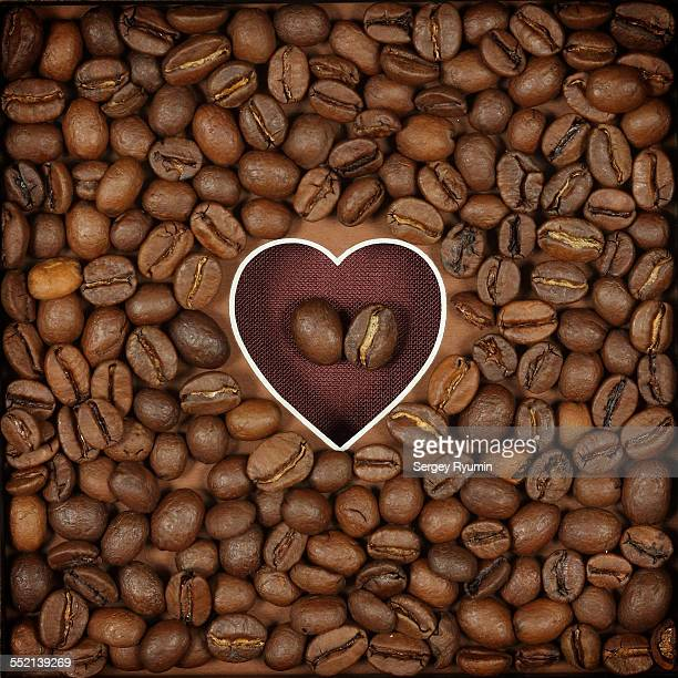 The shape of heart and coffee beans.