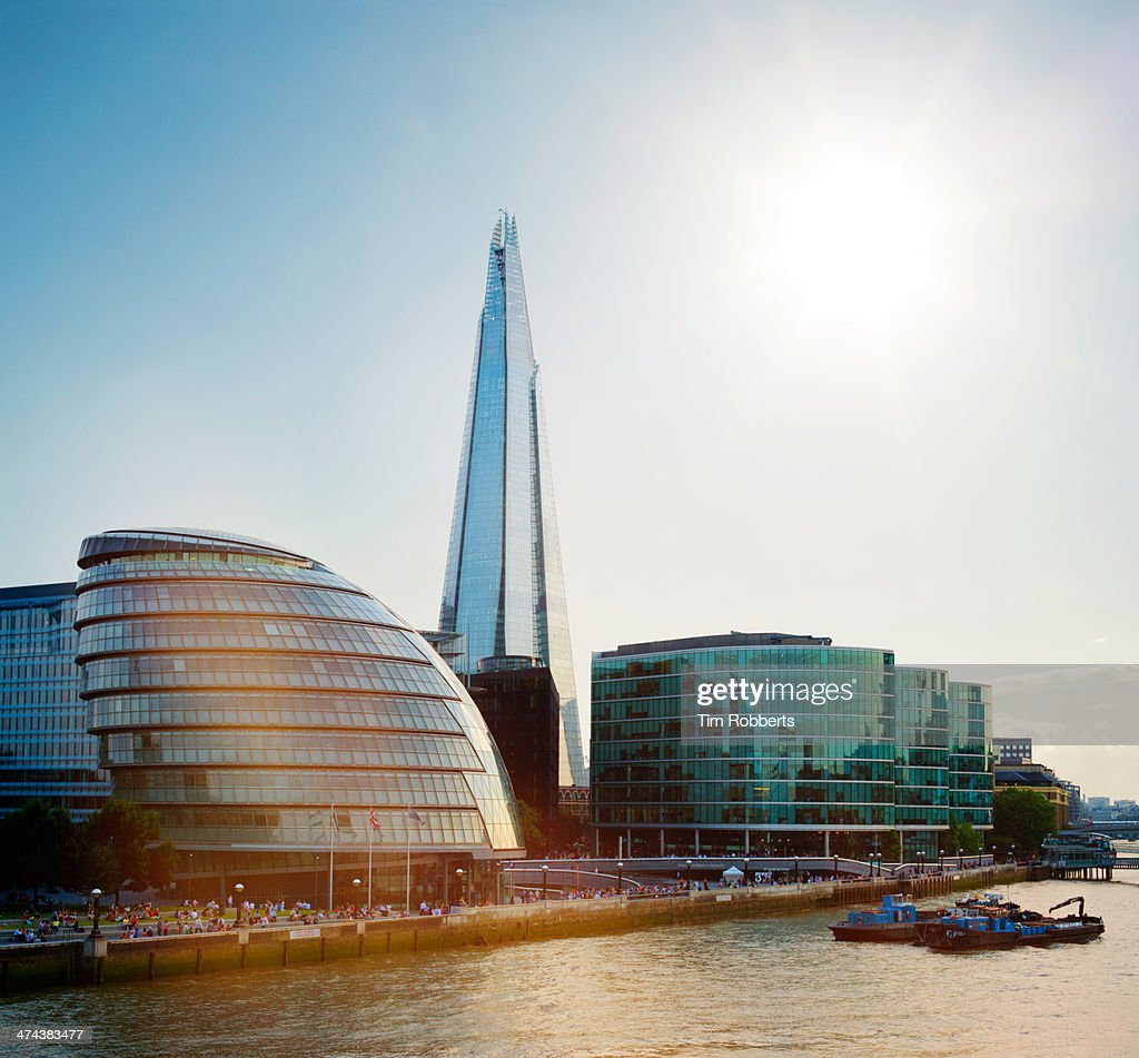 The Shard and City Hall with sun