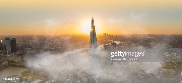The Shard at sunrise with morning mist