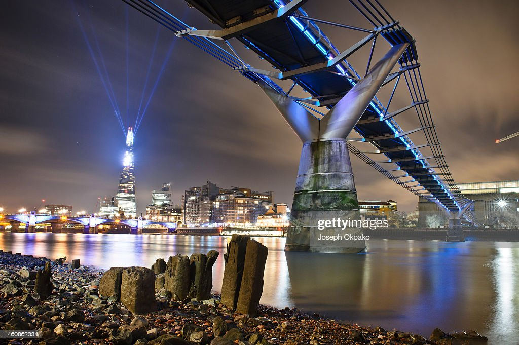 The Shard is celebrating the festive period with 'Shard Lights', a spectacular light installation created by award-winning art collective and Jason Bruges Studio at The Shard on December 27, 2014 in London, England.