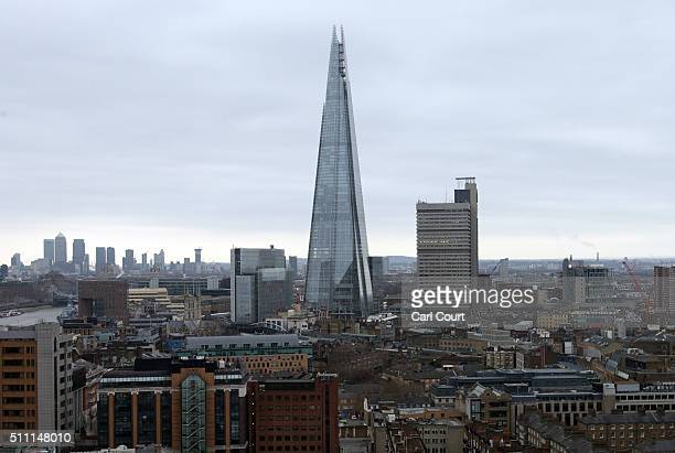 The Shard is pictured from the top of the extension of the Tate Modern on February 17 2016 in London England Construction on the Switch House the...
