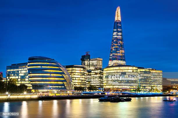 The Shard on London skyline at dusk