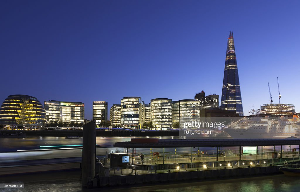 The Shard River Thames and City Hall Buildings : Stock Photo