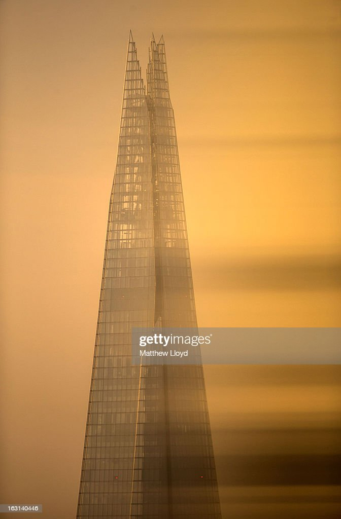 The Shard skyscraper at sunrise on March 5, 2013 in London, England. The recent construction of numerous tall buildings on the London skyline has been controversial due to concerns that views of historic landmark buildings, such as St Paul's cathedral, are being obscured.
