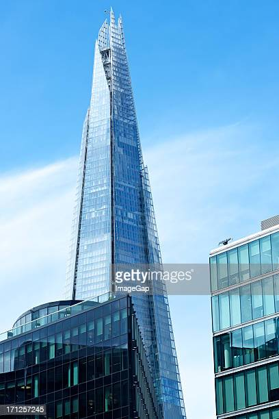 The Shard tower in London against a sunny sky