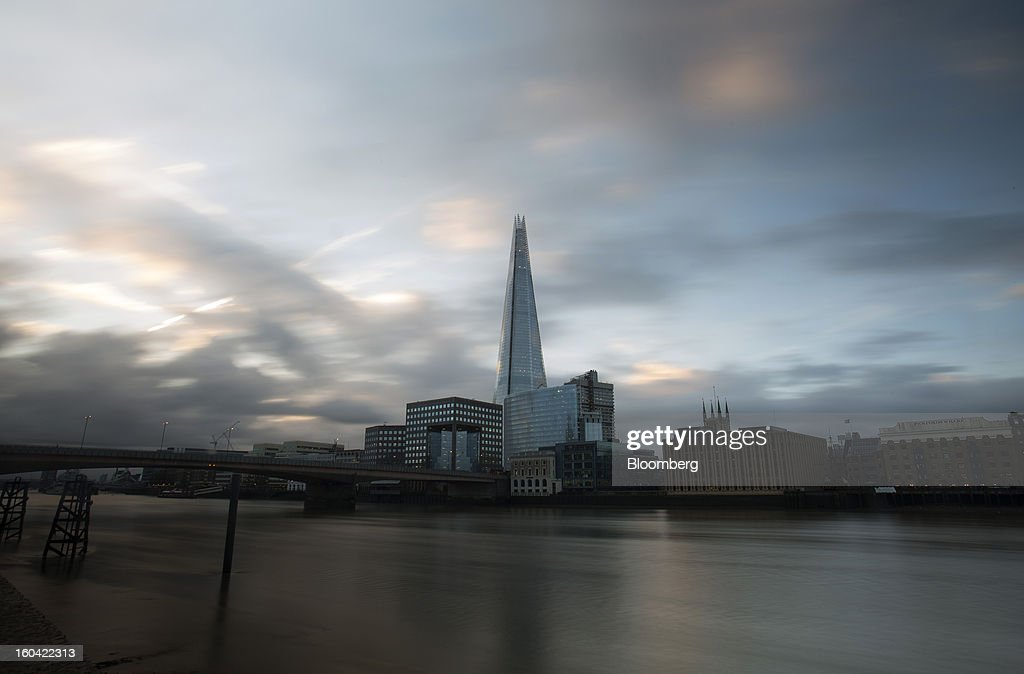 The Shard tower stands on the South Bank of the River Thames in London, U.K., on Thursday, Jan. 31, 2013. The Shard, which stands at 309.6 meters on London's South Bank, opens to the public on Feb. 1, and is owned by LBQ Ltd., which brings together the State of Qatar (the majority shareholder) and Sellar Property Group Ltd., with non-equity funding by Qatar National Bank. Photographer: Simon Dawson/Bloomberg via Getty Images