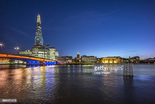 The Shard with Southwark Cathedral and London Bridge