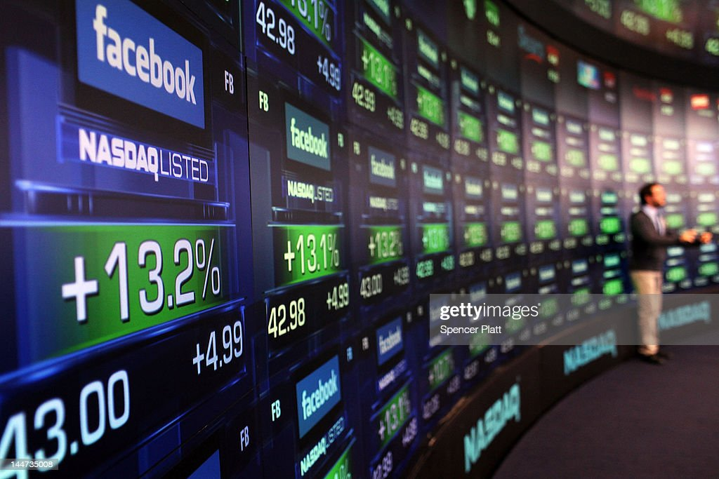 The share price of newly debuted Facebook stock is displayed at the Nasdaq stock market moments after it went public on May 18, 2012 in New York, United States. The social network site began trading after 11:30 a.m. with shares jumping 13% to $43 before quickly falling. On Thursday Facebook priced 421 million shares at $38 each. Facebook, a Menlo Park, California based company, will have a valuation exceeding $100 billion.Ê