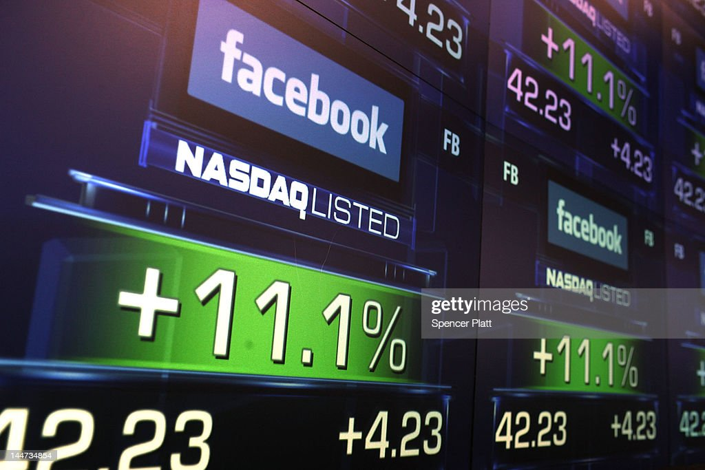 The share price of newly debuted Facebook stock is seen at the Nasdaq stock market moments after it went public on May 18, 2012 in New York, United States. The social network site began trading after 11:30 a.m. with shares jumping 13% to $43 before quickly falling. On Thursday Facebook priced 421 million shares at $38 each. Facebook, a Menlo Park, California based company, will have a valuation exceeding $100 billion.