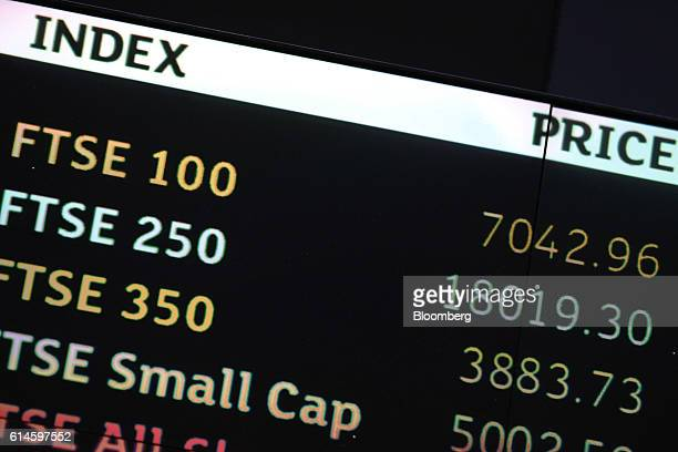 The share price of the FTSE 100 FTSE 250 and FTSE 350 indexes are displayed on an electronic board in the atrium of the London Stock Exchange Group...