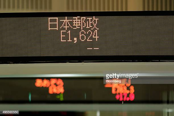 The share prices for Japan Post Holdings Co is displayed on an electronic ticker at the Tokyo Stock Exchange operated by Japan Exchange Group Inc in...