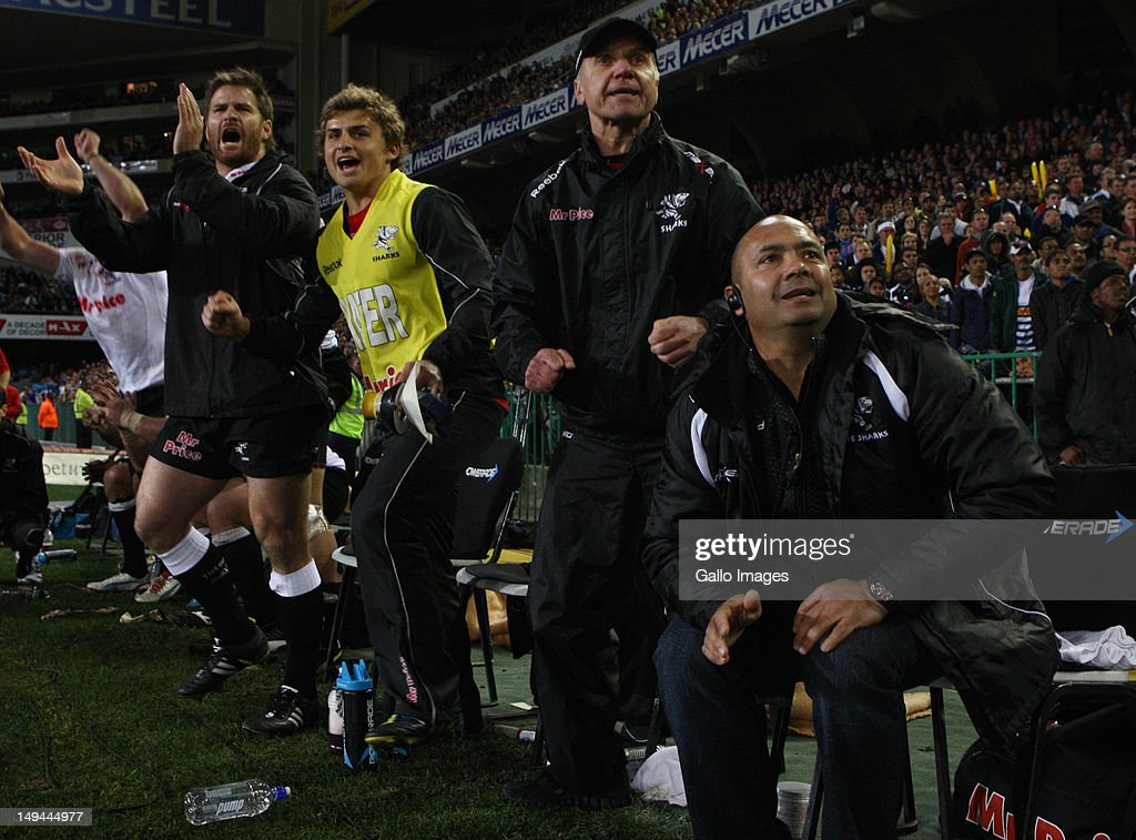 The Sharks bench during their victory in the Super Rugby semi final match between DHL Stormers and The Sharks from DHL Newlands Stadium on July 28, 2012 in Cape Town, South Africa.