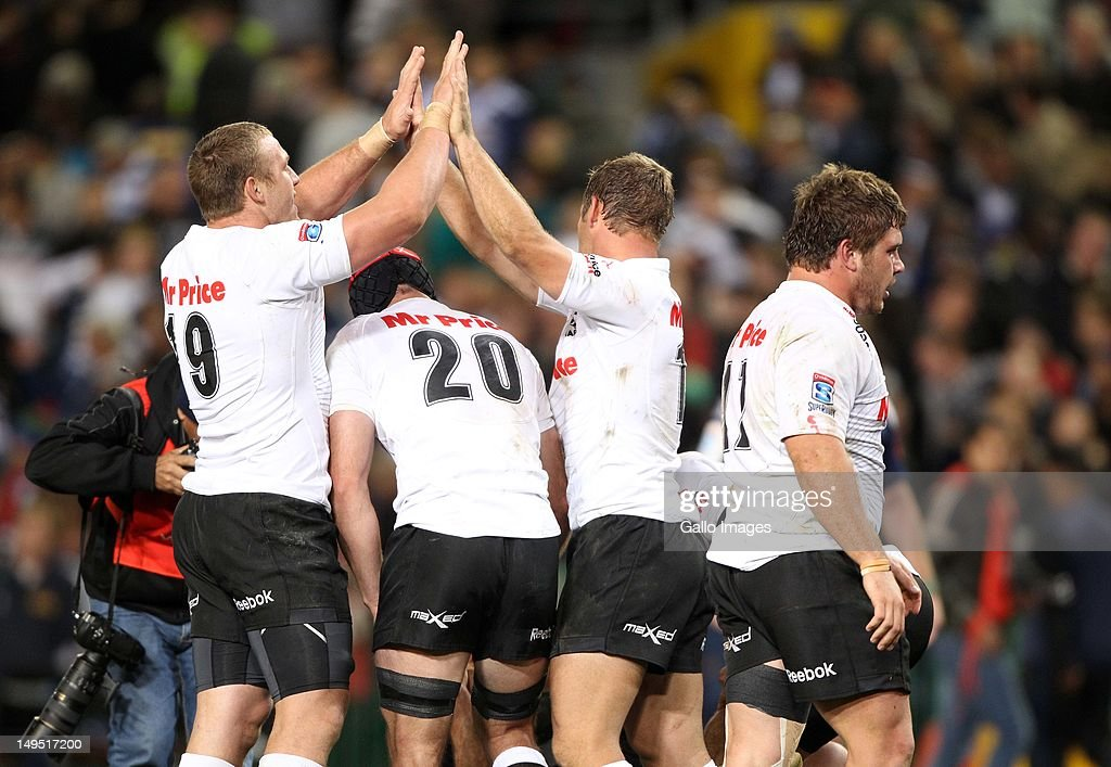 The Sharks celebrate the win during the Super Rugby semi final match between DHL Stormers and The Sharks from DHL Newlands Stadium on July 28, 2012 in Cape Town, South Africa.
