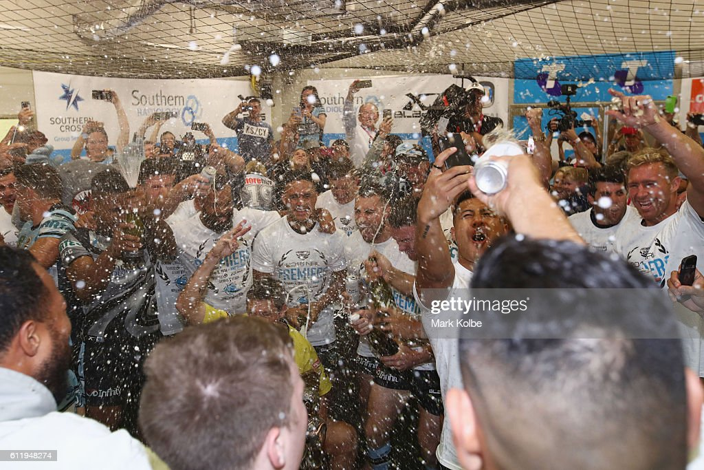 The Sharks celebrate victory in the dressing room after winning the 2016 NRL Grand Final match between the Cronulla Sharks and the Melbourne Storm at ANZ Stadium on October 2, 2016 in Sydney, Australia.