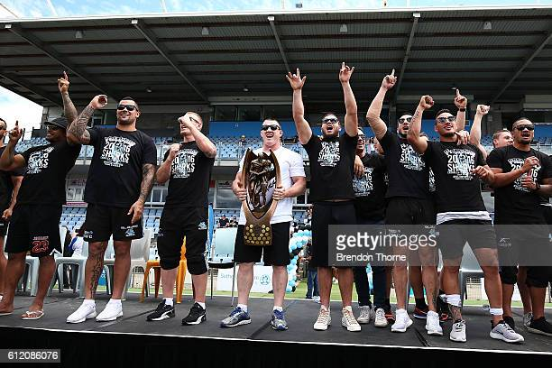 The Sharks celebrate with the Premiership Trophy after winning the 2016 NRL Grand Final during the Cronulla Sharks NRL Grand Final celebrations at...
