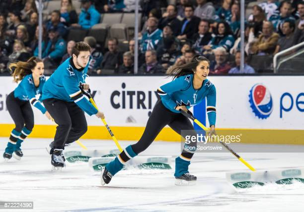The Sharks ice crew takes care of the surface during the regular season match between Tampa Bay Lightning and San Jose Sharks on Wednesday November 8...