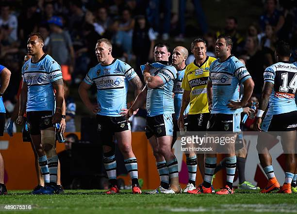 The Sharks look on in goal waiting for a conversion attempt during the Second NRL Semi Final match between the North Queensland Cowboys and the...