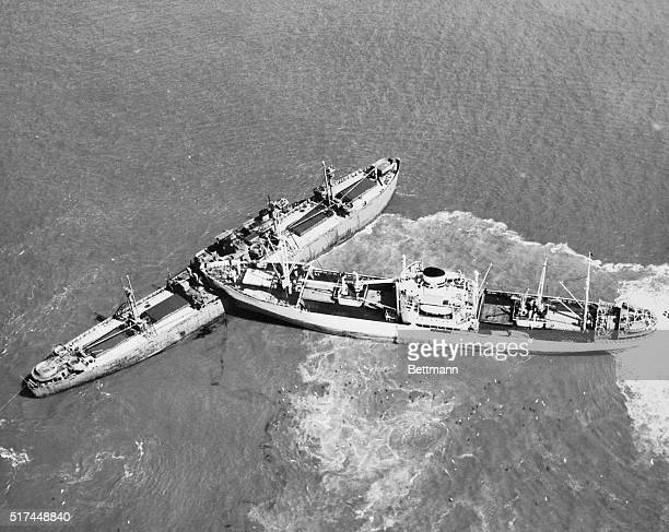The sharp prow of the Swedish ship SS Nyland almost cuts the Liberty ship E Kirby Smith in two after they collided near Norfolk the Nyland plowed...