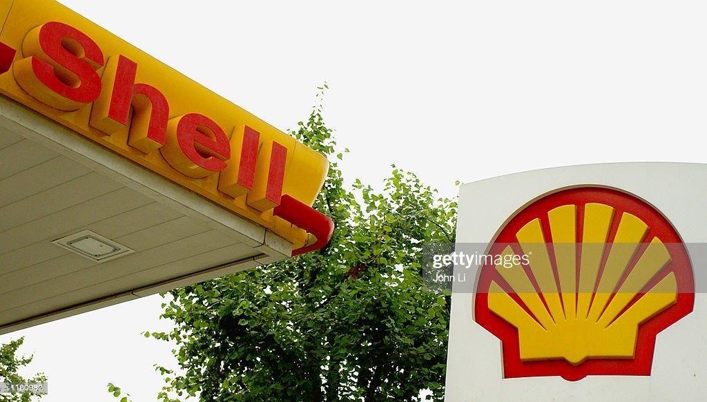 The Shell logo at a petroleum station is shown July 30 2002 in London England Shell PLC will be reporting their interim results on August 1 2002