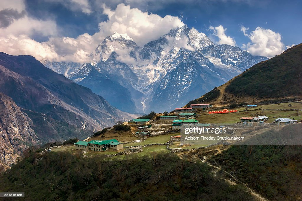 The Sherpa village with Everest mountain background.