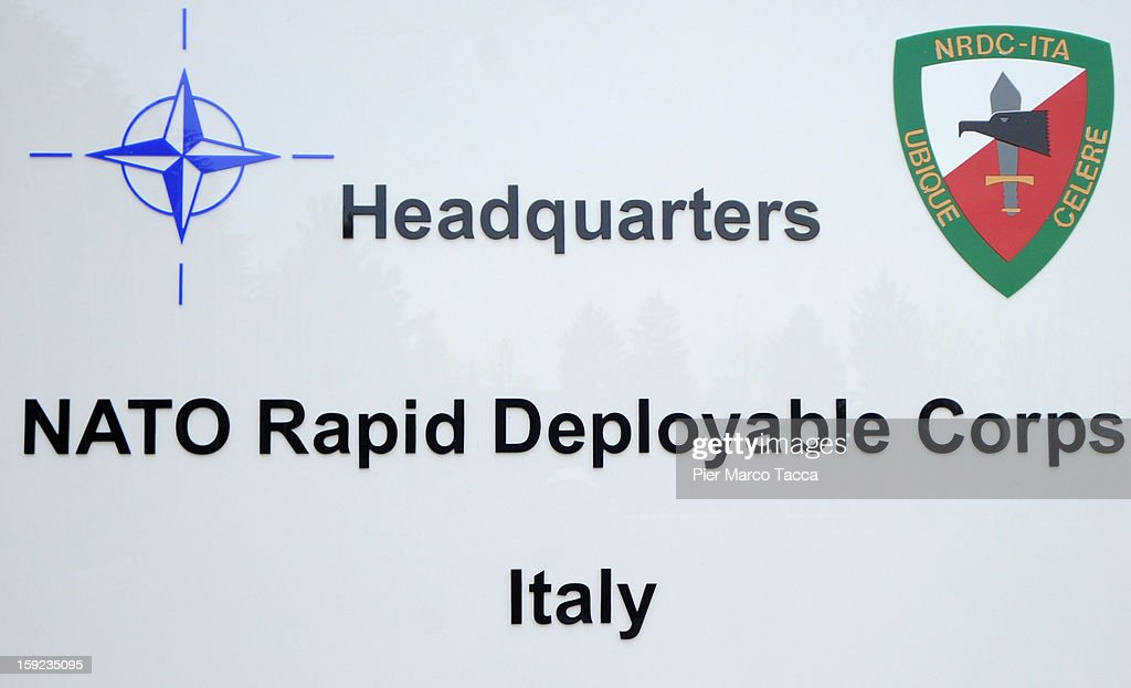 The shield of the NRDC - ITA at the departure Ceremony for OTAN Rapid Deployable Corps - Italy bound for Afghanistan at Ugo Mara Barracks on January 10, 2013 in Solbiate Olona, Italy. NRDC - ITA is one of the Alliance's seven Rapid Deployable Corps Headquarters, and is one of the two high profile NATO organisations based in Italy