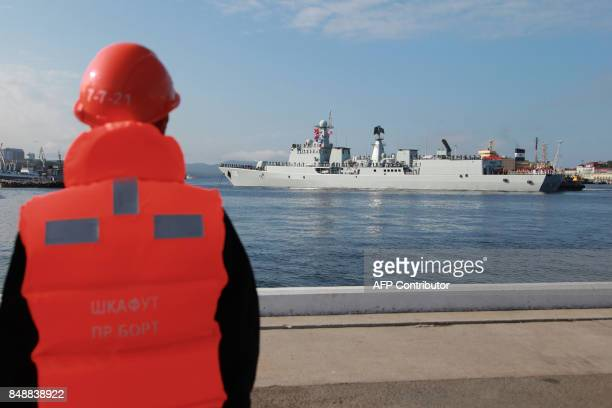 The Shijiazhuang a type 051C missile destroyer of China's People's Liberation Army Navy arrives in the Russian port city of Vladivostok located near...