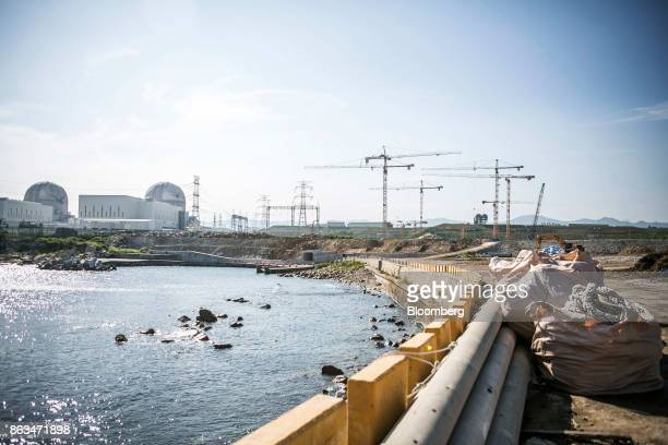 The Shin Kori No 3 and 4 nuclear power reactors operated by Korea Hydro Nuclear Power Co a unit of Korea Electric Power Corp left stand next to the...