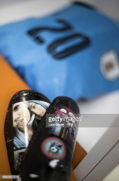The shin pads of Rodrigo Bentancur of Uruguay are seen in the Ururguay dressing room prior to the FIFA U20 World Cup Korea Republic 2017 Round of 16...